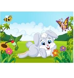 Cartoon cute bunny in the jungle vector image