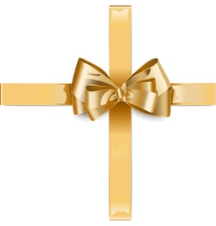 Golden ribbon with bow vector