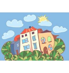 Little cartoon houses vector
