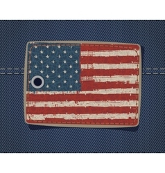 Usa flag on label on jeans vector