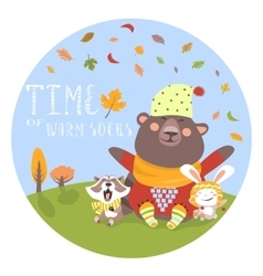 Happy animals meeting autumn vector