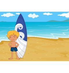 Boy with surf board vector