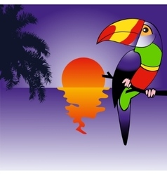 Background with brightly colored parrot vector
