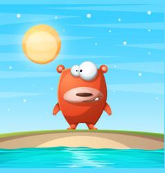 bear on the beach cartoon vector image vector image