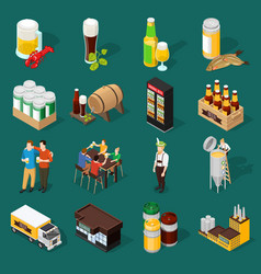 beer isometric icons set vector image vector image