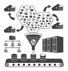 Big data icons set cloud computing concept vector