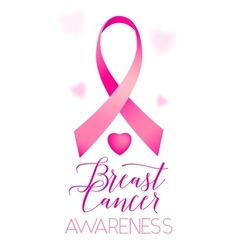 Breast cancer ribbons and heart awareness vertical vector