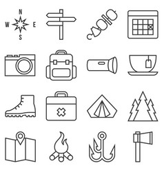 camping icon set outline style vector image vector image