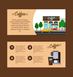 Coffee horizontal flyers with shop building vector