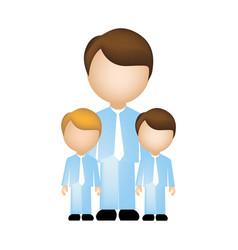 Color silhouette with father and sons in suit and vector