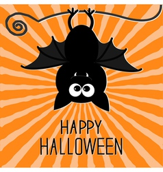Cute bat sunburst background happy halloween card vector