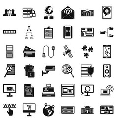 Data in laptop icons set simple style vector