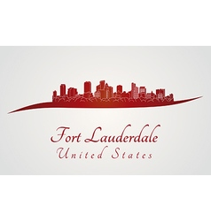 Fort lauderdale skyline in red vector