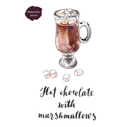 Glass of hot chocolate with marshmallows vector