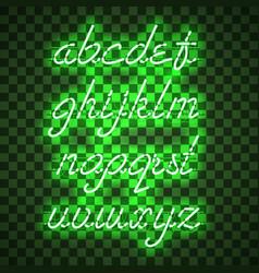 Glowing green neon lowercase script font vector