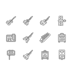 Guitars black line icons set vector image