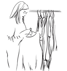 hand drawn wardrobe sketch girl selects the vector image vector image