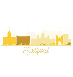 hartford city skyline golden silhouette vector image