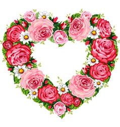 heart roses frame vector image