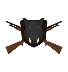 Hunting trophy stuffed wild boar head no outline vector