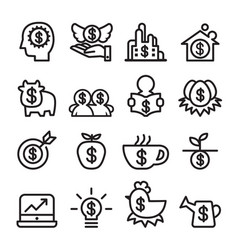 Investment icon set line icon vector