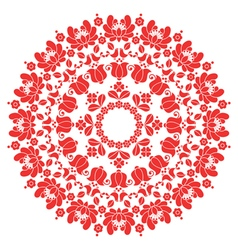 Kalocsai red floral embroidery - hungarian round vector