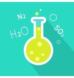 Laboratory flask in flat style design vector