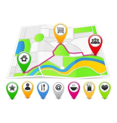 Map with Map Pins vector image vector image