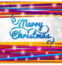 Merry christmas handwritten blue swirl lettering vector