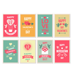 retro cards for happy valentines day vector image vector image