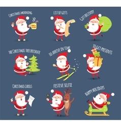 Santa activities christmas happy holidays vector