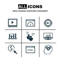 set of 9 marketing icons includes keyword vector image vector image