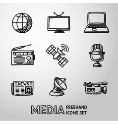 Set of handdrawn media icons - news radio tv vector image vector image
