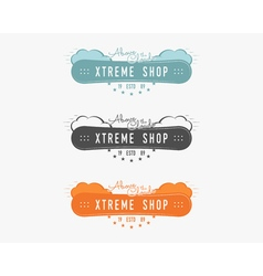 Set of snowboarding extreme shop logo label vector