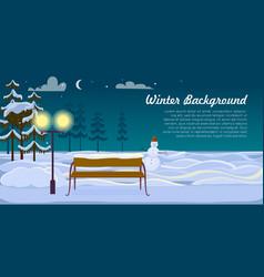 Snowman and bench on winter background dark night vector