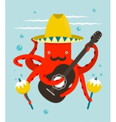 Sombrero macho moustache octopus playing guitar vector