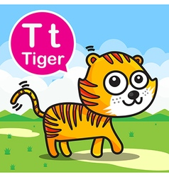 T Tiger color cartoon and alphabet for children to vector image