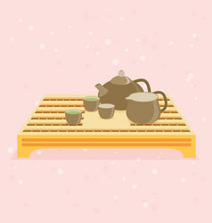 Teapot and cups eps 10 vector