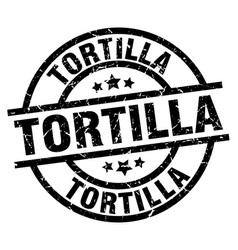 tortilla round grunge black stamp vector image