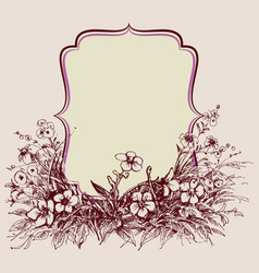 vintage floral frame space for text vector image vector image
