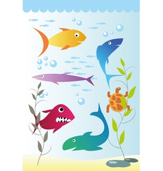 Under sea fish background vector