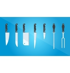 Kitchenware set of different kinds of knives vector