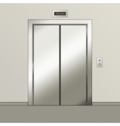 Iron elevator with closed doors vector image