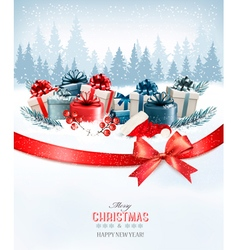 Holiday Christmas background with a gift boxesand vector image