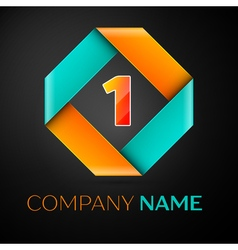 Number one logo symbol in the colorful rhombus on vector