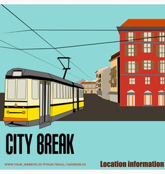 Tram in the city vector