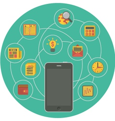 Business mobility concept in green circle vector