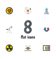 Flat icon science set of flame irradiation scope vector