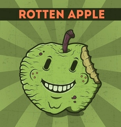 Funny cartoon malicious green monster apple vector