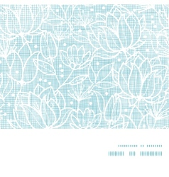 Blue lace flowers textile horizontal frame vector